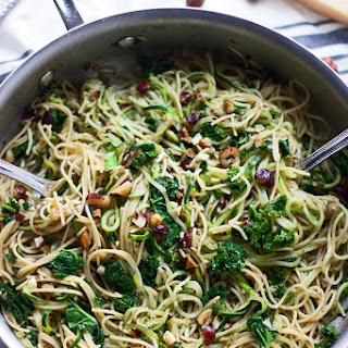 Whole-Wheat and Zucchini Spaghetti with Brown Butter, Hazelnuts and Kale.