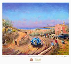 Photo: Une reproduction de ce superbe tableau original réalisé spécialement pour l'édition 2014 par l'artiste Alain Ducôté (Jean Behra en 1953 au tour auto au dessus de Nice) a été offerte à chaque participant.