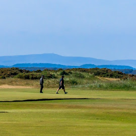 GOLFERS AT ST. ANDREWS by Jennifer  Loper  - Sports & Fitness Golf ( mountains, old course, fairway, men, st. andrews, scotland )