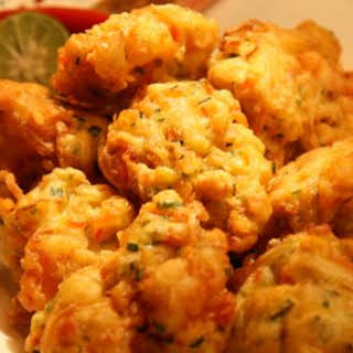 Corn and Prawn Fritters.