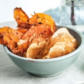 Baked Salt And Vinegar Potato Crisps And Thyme Sweet Potato Crisps.