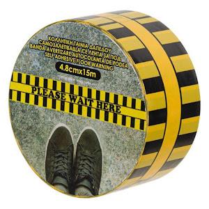 Set 2 x Banda adeziva de asteptare, pentru podea, 15 metri x 4.8 cm
