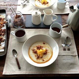 Grits with Cinnamon Apple and Coconut Bacon