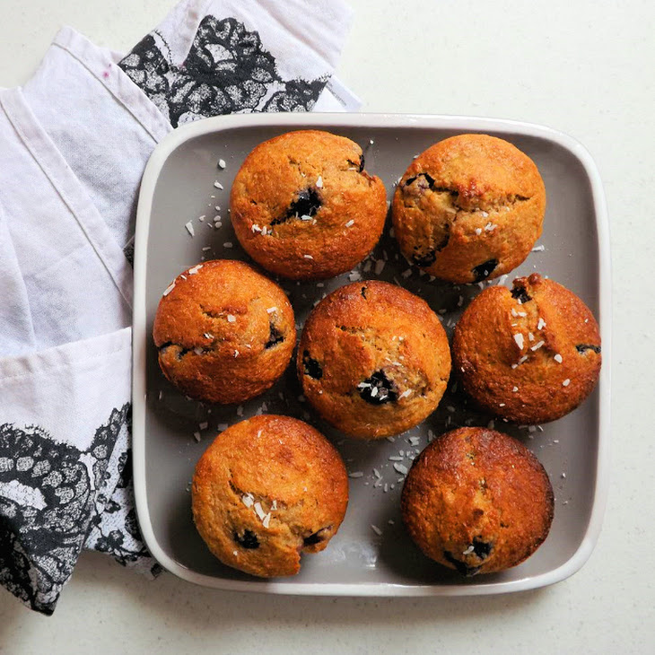 Blueberry, Coconut And Banana Wholemeal Muffins