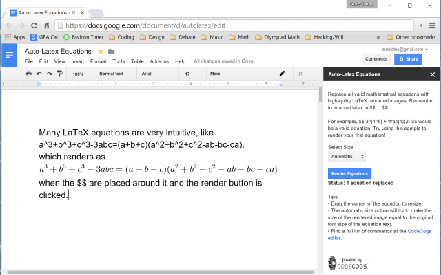 auto latex equations google docs add on