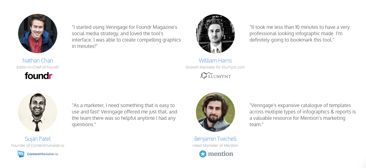 Venngage uses high profile B2B customer testimonials to build trust in their target market.
