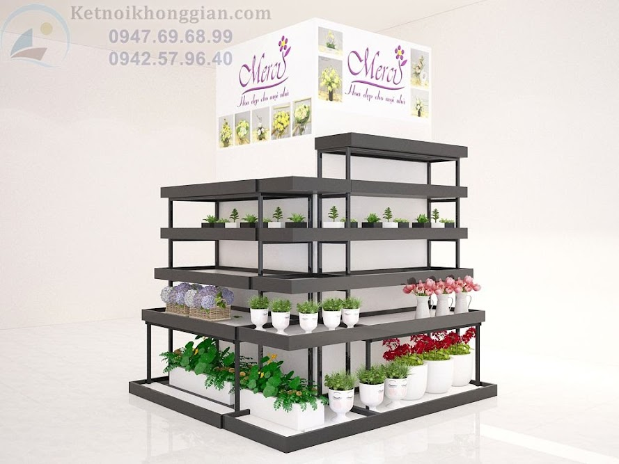 thiết kế gian hàng hoa tưới đơn giản và đẹp