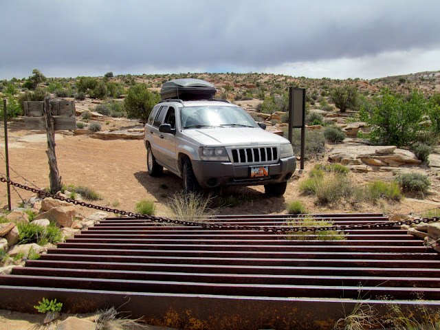Cattle guard and chain across the road