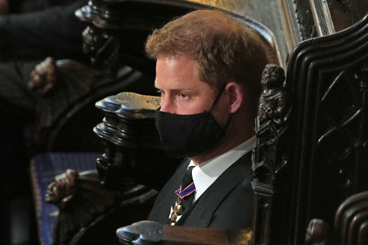 Prince Harry attends the funeral service of his grandfather, Prince Philip, at St George's Chapel within the grounds of Windsor Castle on April 17 2021.