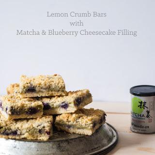 Lemon Crumb Bars with Matcha Blueberry Cheesecake Filling