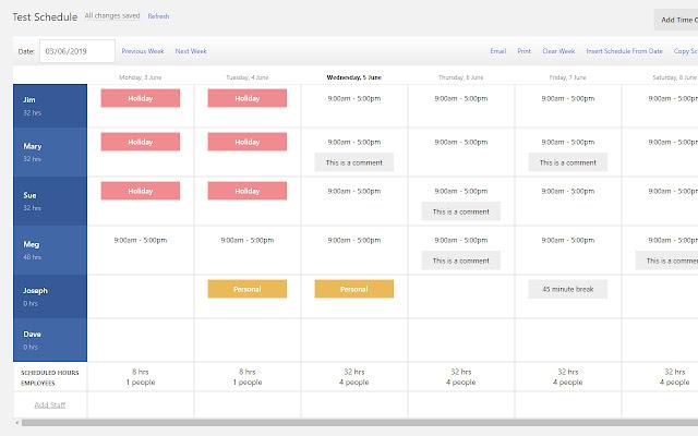 Restaurant Employee Scheduling | BriskTable