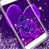 GO Keyboard Purple Hearts