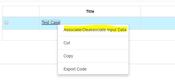 associate input data with test