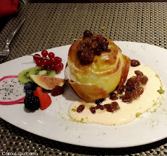Photo: DUSSELDORF ♥ hot desert for the season ! roast apple with Marzipan, raisins and cinnamon!  travel food photography W samsung galaxy 4 iso-400 ...no flash!