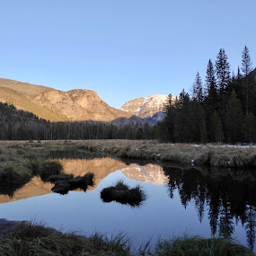 Evening in RMNP by Kerry Demandante - Landscapes Mountains & Hills ( national park, blue sky, mountains, reflection, colorado rmnp, river, trees,  )