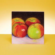 """Photo: TEMPTATIONS  Rebecca Stebbins '85 paints  impressionist and realist still lifes and landscapes from her travels. """"Four from the Tree"""" is oil on gesso board, 5""""x5"""". Paintings from $100.  rebeccastebbins.com (805) 684-8456"""