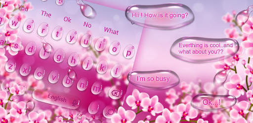 Beautiful Pink Water droplet Sms Keyboard Theme - Apps on