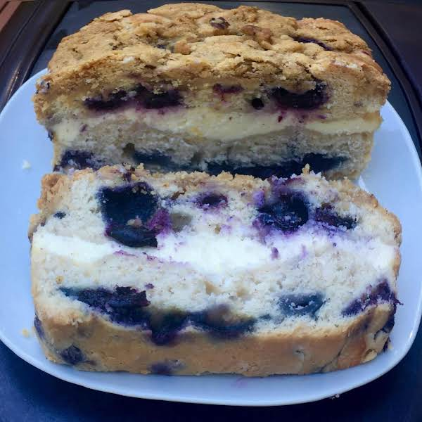 Delicious Blueberry Streusel Cheesecake Bread.