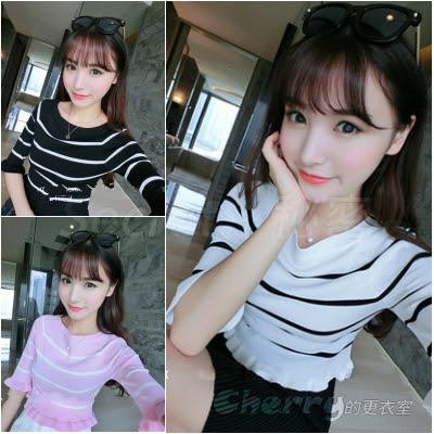 韓版學院風薄款套頭圓領五分袖條紋針織衫