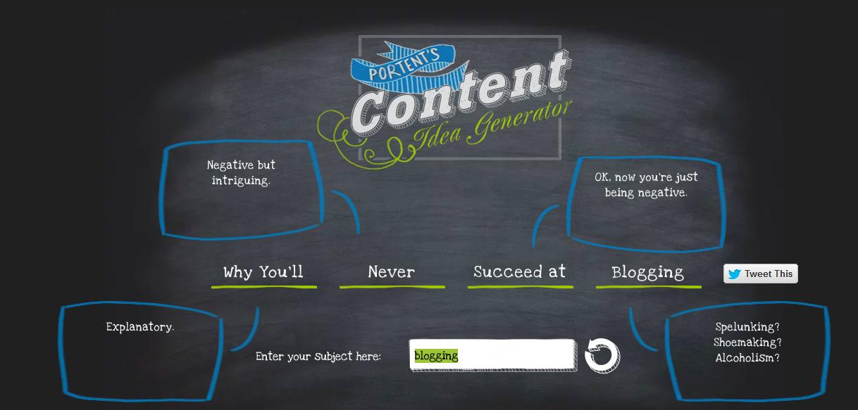 Portent content idea generator blog writing tool