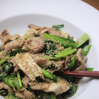 Pork & Mustard Spinach Stir-Fry