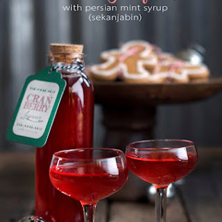 Cranberry Liqueur with Persian Mint Syrup (Sekanjabin)