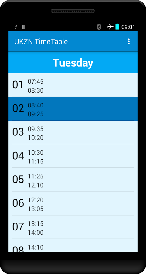 UKZN Timetable- screenshot