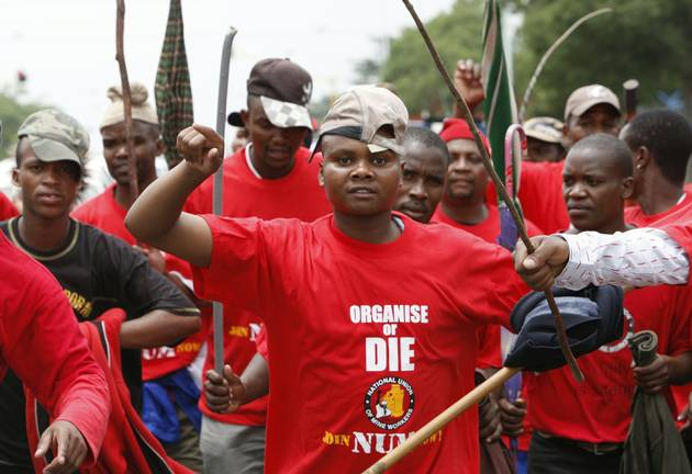 National Union of Mineworkers members. File photo.