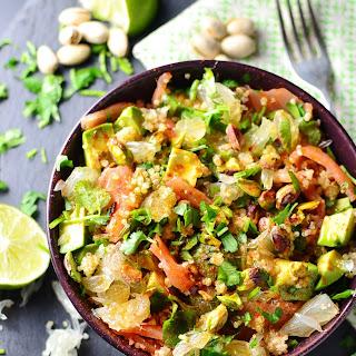 Quinoa Pomelo Smoked Salmon Salad.