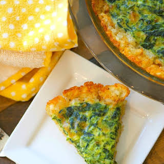 Tater Tot Crusted Spinach Quiche.