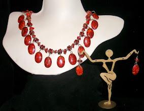Photo: <BEREHYNYA> {Great Goddess Protectress} unique one-of-a-kind statement jewellery by Luba Bilash ART & ADORNMENT  #111 - Smoldering Embers - Тліючі жаринки - bone; coral chips; silver-plate & SS $110/set SOLD