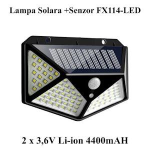 Lampa solara 114 LED cu senzor de miscare si lumina