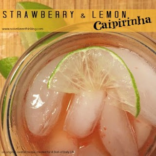 Fresh Strawberry and Lemon Caipirinha Cocktail