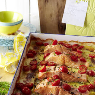 Salmon, Potato and Dill Gratin.