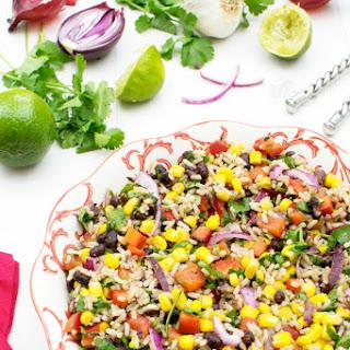 Lime & Coriander Brown Rice Bean Salad [vegan] [gluten free].