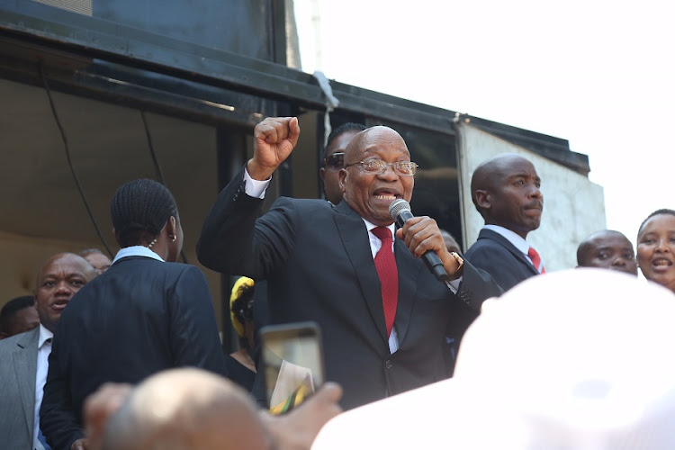 Former President Jacob Zuma addressing crowds after he appears in the Durban High court on 6 April 2018. Zuma's case was postponed to the 8th of June 2018. Picture: JACKIE CLAUSEN