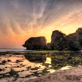 A sunset at Siung Beach by Miko Adji - Landscapes Beaches ( siung, mount kidul, yogyakarta, 2015, indonesia, sunset, beach, landscape,  )