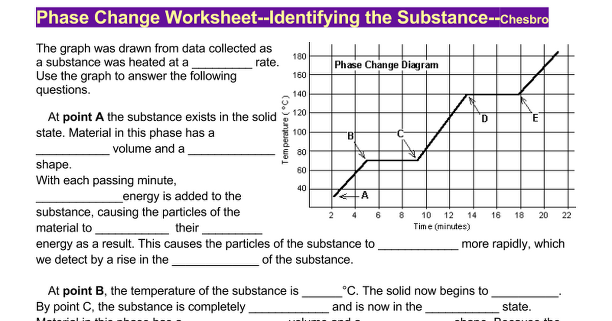 Phase Change WorksheetIdentify the Substancedocx Google Docs – Phase Change Worksheet Answers
