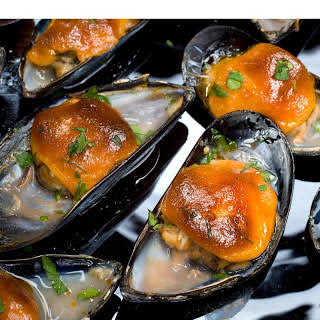 Broiled Mussels with Sweet Paprika Aioli.