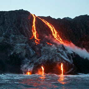 Hawaii Island, Kilauea Volcano, Ocean Entries 2013 by Venetia Featherstone-Witty - Travel Locations Landmarks ( molten lava flows into the ocean, lava clouds and waves, kilauea volcano, reflections of lava in the waves, new years day 2013 pele gives birth to new earth, reflection, reflections, people, places, architecture, building,  )