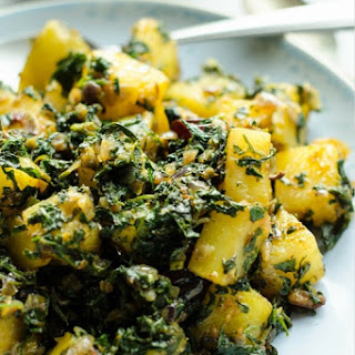 Aloo Methi - Potatoes with Fenugreek Leaves.