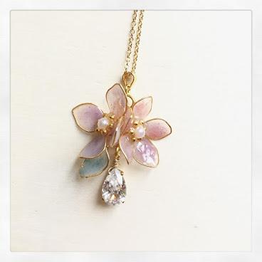透感紫粉紅花垂吊仿鑽石頸鏈