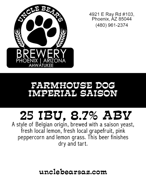 Logo of Uncle Bear's Farmhouse Dog Imperial Saison