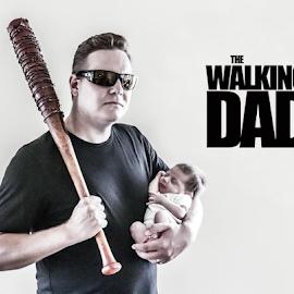 The Walking Dad by Matthew Chambers - Typography Captioned Photos ( love, art, fantasy, beauty, the walking dead, dad, father, zombie, baby, fan art, fatherhood, newborn )