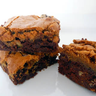 Chocolate Chip Cookie-Topped Brownies.