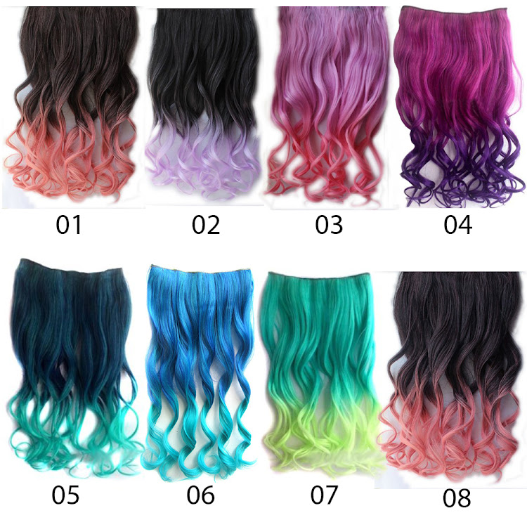 Clip on Ombre Dip dye Curly Nylon Clip in Hair Extension by Supermodels Secrets