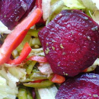 Beet Salad With Peppers and Lettuce.