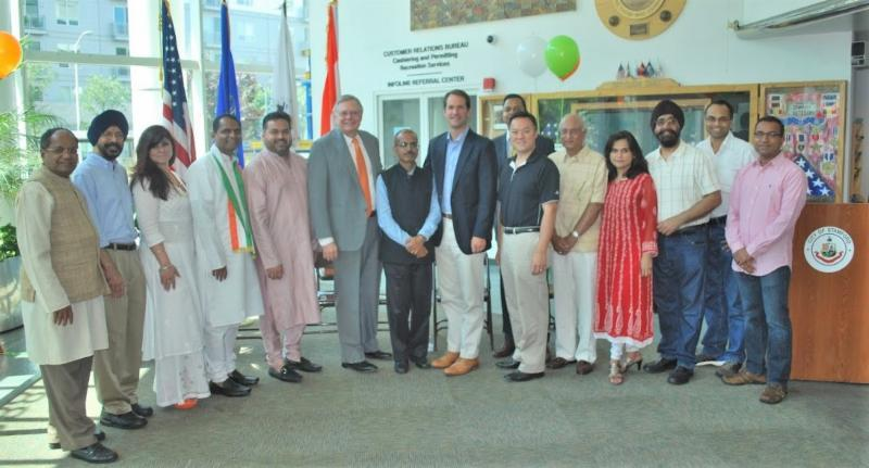GOPIO-CT officials and dignitaries at the India Independence Day Celebration at Stamford