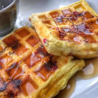 Lemon Raspberry Protein Waffles