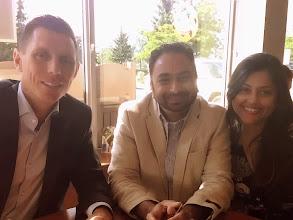 Photo: (L-R)  Patrick Brown, MP with Husain & Kalpa.